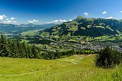 THEMENBILD - Der Blick vom Super-G Start auf die Seidlalm mit der Stadt und dem Kitzbüheler Horn im Hintergrund, aufgenommen am 26. Juni 2017, Kitzbühel, Österreich // The view from the Super-G start to the Seidlalm with the city and the Kitzbüheler Horn in the background at the Streif, Kitzbühel, Austria on 2017/06/26. EXPA Pictures © 2017, PhotoCredit: EXPA/ Stefan Adelsberger