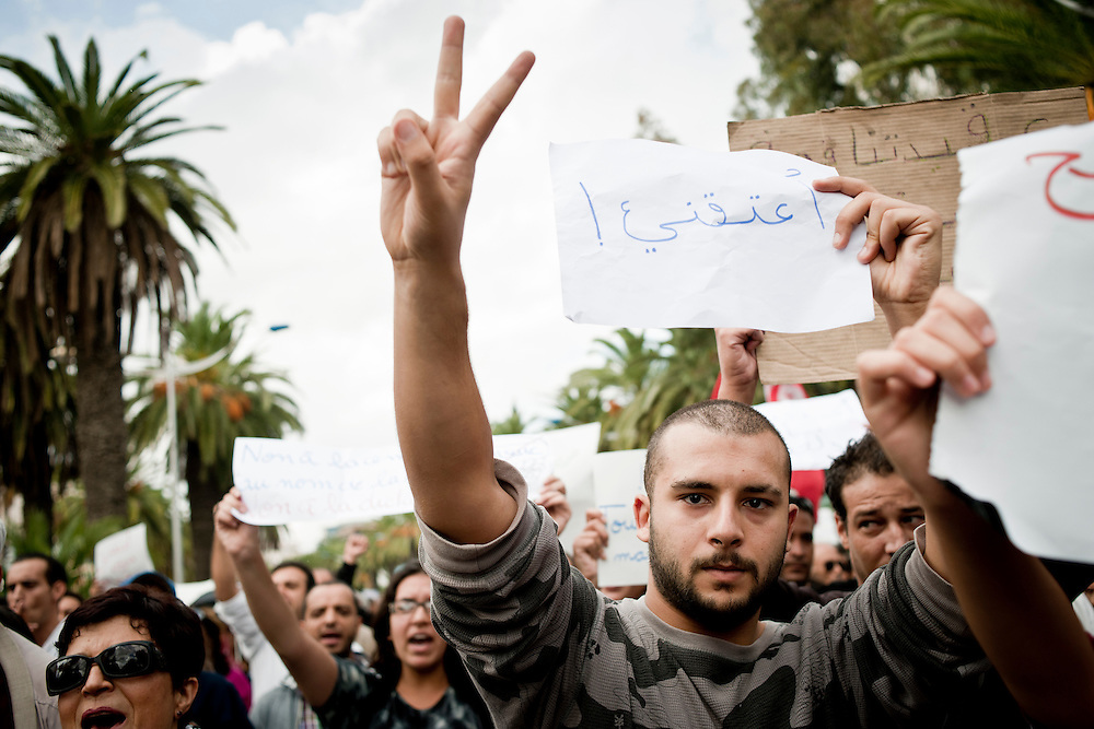 Tunis, Tunisia 16 October 2011<br /> Tunisian Mohammed Slim demonstrates for peace, freedom of speech and for a secular state.<br /> An election for a Constituent Assembly will be held in Tunisia on 23 October 2011, following the Tunisian Revolution.<br /> Photo: Ezequiel Scagnetti