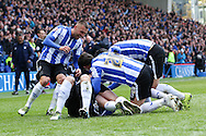 Sheffield Wednesday players celebrate the second goal during the Sky Bet Championship match between Sheffield Wednesday and Cardiff City at Hillsborough, Sheffield, England on 30 April 2016. Photo by Ellie Hoad.