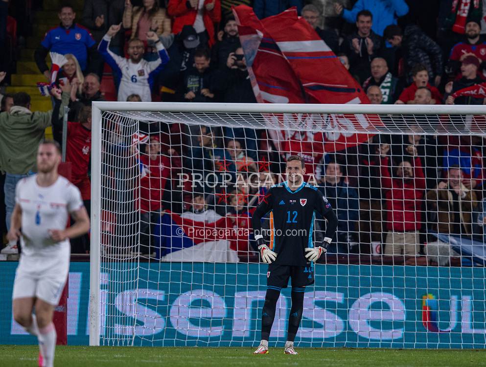 PRAGUE, CZECH REPUBLIC - Friday, October 8, 2021: Wales' goalkeeper Daniel Ward looks dejected after scoring an own goal to put Czech Republic 2-1 in front during the FIFA World Cup Qatar 2022 Qualifying Group E match between Czech Republic and Wales at the Sinobo Stadium. The game ended in a 2-2 draw. (Pic by David Rawcliffe/Propaganda)