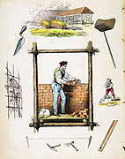 Bricklayer working on wooden scaffold. Top: Brickyard. Right: Miixing mortar. Hand-coloured wood engraving from children's book, London, c1845