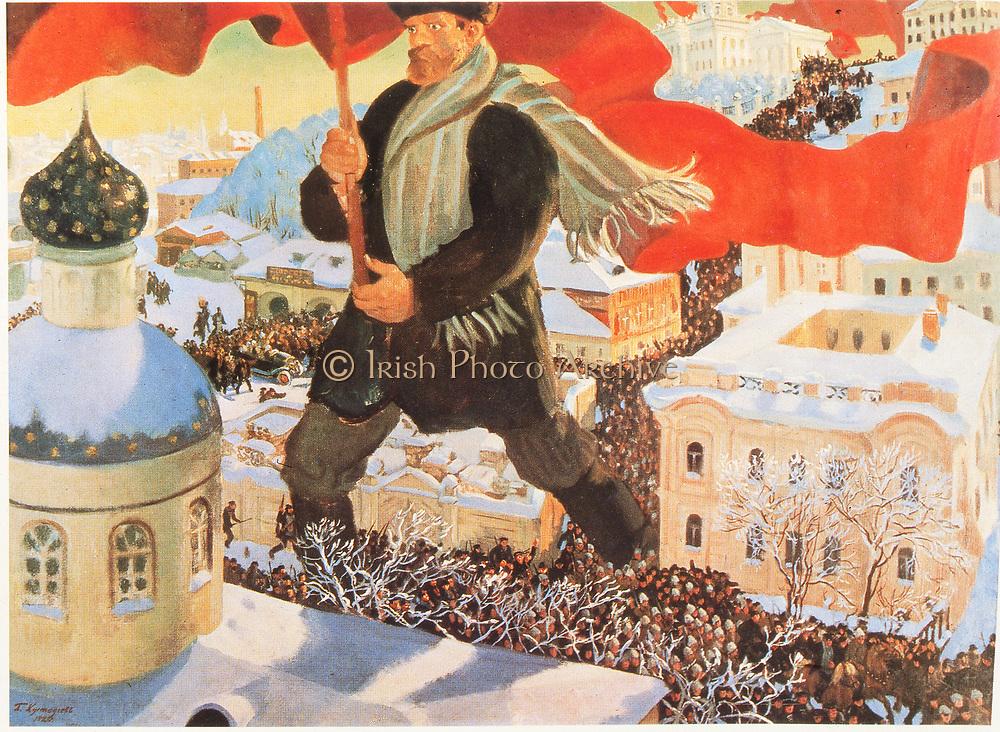 The Bolschevist. After 1920 painting by Boris Mihajlovic Kustodiev (1878-1927). Russian
