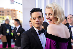 Rami Malek, Oscar® nominee, and Lucy Boynton arrive on the red carpet of The 91st Oscars® at the Dolby® Theatre in Hollywood, CA on Sunday, February 24, 2019.