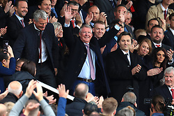 Sir Alex Ferguson in the stands, at his first match since having emergency brain surgery in May, before the Premier League match at Old Trafford, Manchester