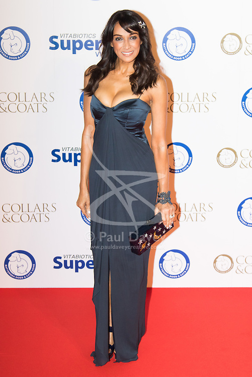 """Battersea, London, November 3rd 2016.  Celebrities and their dogs attend The Evolution at Battersea Park to attend The Battersea Dogs and Cats Home """"Collars and Coats Ball"""". PICTURED: Jackie St Clair"""