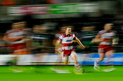 Gloucester Scrum-Half (#9) Dan Robson chases during the second half of the match - Photo mandatory by-line: Rogan Thomson/JMP - Tel: Mobile: 07966 386802 09/11/2012 - SPORT - RUGBY - Liberty Stadium - Swansea. Ospreys v Gloucester - LV= Cup