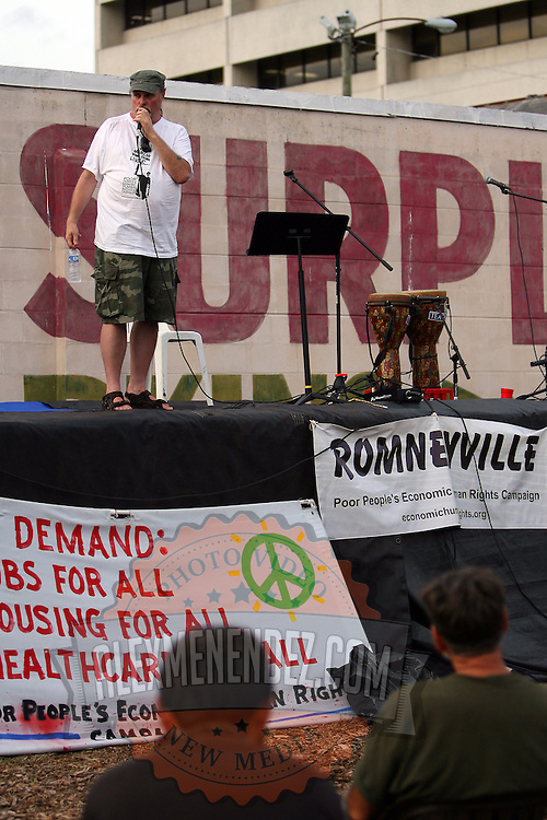 """A speaker on stage at """"Camp Romney"""",  during the Republican National Convention in Tampa, Fla. on Wednesday, August 29, 2012. (AP Photo/Alex Menendez)"""