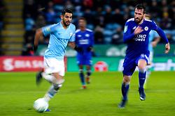 Riyad Mahrez of Manchester City takes on Christian Fuchs of Leicester City - Mandatory by-line: Robbie Stephenson/JMP - 18/12/2018 - FOOTBALL - King Power Stadium - Leicester, England - Leicester City v Manchester City - Carabao Cup Quarter Finals
