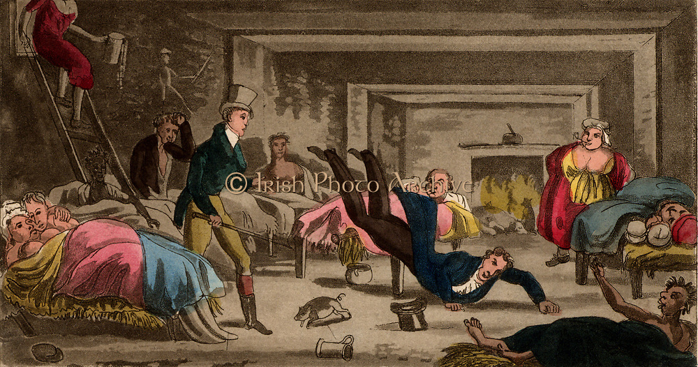 Adventures in a Snoozing Cellar: young blades visiting a brothel which obviously caters for a variety of tastes. From 'Real Life in Ireland' by 'Brian Boru'  (London, 1826). Aquatint.