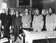 Peace Conference, Munich, Septemebr 1838: Left to right: Neville Chamberlain (Britain) Edouard Daladier (France) Adolph Hitler (Germany) Benito Mussolini (Italy) and Count Ciano (Italy)