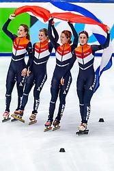 13-01-2019 NED: ISU European Short Track Championships 2019 day 3, Dordrecht<br /> (L-R) Lara van Ruijven, Yara van Kerkhof, Europees Kampioen Suzanne Schulting and Rianne de Vries celebrates after finishing first in the Ladies Relay final during the ISU European Short Track Speed Skating Championships