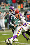 16 Jan 2005: L. J. Smith of the Philadelphia Eagles fumbles which is caught by Freddie Mitchell for a touchdown during the Philadelphia Eagles 27-14 victory over the Minnesota Vikings at Lincoln Financial Field in Philadelphia, PA. <br /> Mandatory Credit:Todd Bauders/ContrastPhotography.com