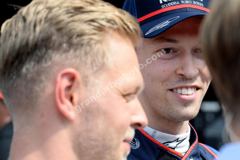 Daniil Kvyat (Toro Rosso-Honda) and Kevin Magnussen (Haas-Ferrari) after qualifying for the 2019 Monaco Grand Prix. Photo: Grand Prix Photo