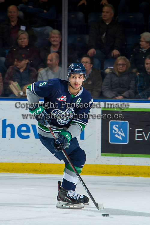 KELOWNA, BC - JANUARY 30: Jarret Tyszka #5 of the Seattle Thunderbirds skates with the puck against the Kelowna Rockets at Prospera Place on January 30, 2019 in Kelowna, Canada. (Photo by Marissa Baecker/Getty Images)