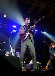Nicholas McCarthy of Franz Ferdinand, on stage at Prince's Street Gardens, Edinburgh, Scotland, August 2005..©Pic : Michael Schofield...