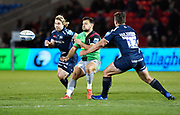Harlequins scrum-half Danny Care passes during a Gallagher Premiership match won by Sale Sharks 27-17 at the AJ Bell Stadium, Eccles, Greater Manchester, United Kingdom, Friday, April 5, 2019. (Steve Flynn/Image of Sport)