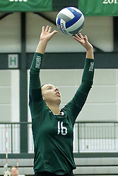 23 September 2017:  Caitlin Meyer during an NCAA womens division 3 Volleyball match between the Tufts Jumbos and the Illinois Wesleyan Titans in Shirk Center, Bloomington IL