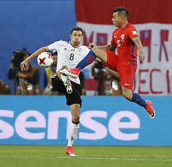 July 3, 2017 - Saint Petersburg, Russia - Eduardo Vargas (R) of Chile national team and Leon Goretzka of Germany national team vie for the ball during FIFA Confederations Cup Russia 2017 final match between Chile and Germany at Saint Petersburg Stadium on July 2, 2017 in Saint Petersburg, Russia. (Credit Image: © Mike Kireev/NurPhoto via ZUMA Press)