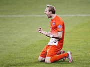 Clemson's T.J. Casner celebrates after scoring the winning penalty kick against Syracuse during an NCAA College Cup soccer match, Friday, Dec. 11, 2015, in Kansas City, Kan. Clemson beat Syracuse 4-1 on penalty kicks after the two teams were scoreless at the end of regulation. (AP Photo/Colin E. Braley)