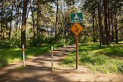 USA, Oregon, Salem, Bush Pasture Park, sign warning hikers that nesting owl may harass them.