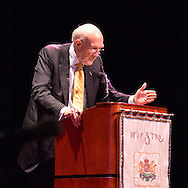"""Oct. 15, 2012 - Hempstead, New York, U.S. - Former Senator ALAN SIMPSON (Republican) speaks at Hofstra University about ?America's Debt and Deficit Crisis: Issues and Solutions.? Also speaking was Bowles (not shown), his fellow co-chairman of the National Commission on Fiscal Responsibility and Reform and co-leader of the Simpson-Bowles non-partisan U.S. fiscal debt reduction plan. This was part of """"Debate 2012 Pride Politics and Policy"""" a series of events leading up to when Hofstra hosts the 2nd Presidential Debate between Obama and M. Romney, the next night, October 16, 2012, in a Town Meeting format."""