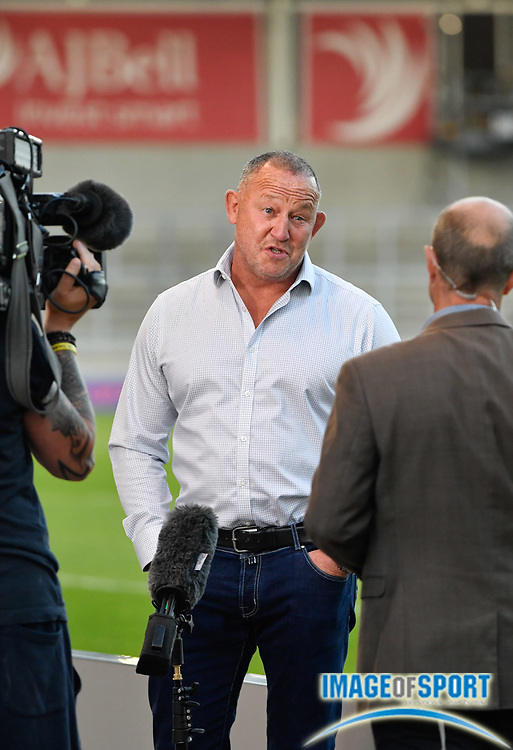 Sale Sharks Director of Rugby Steve Diamond is interviewed by BBC TV before The Premiership Rugby Cup Final at The AJ Bell Stadium, Eccles, Greater Manchester, United Kingdom, Monday, September 21, 2020. (Steve Flynn/Image of Sport)