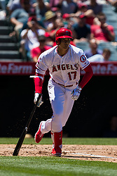 June 3, 2018 - Anaheim, CA, U.S. - ANAHEIM, CA - JUNE 03: Los Angeles Angels starting pitcher Shohei Ohtani (17) during the MLB regular season game against the Texas Rangers on June 03, 2018 at Angel Stadium of Anaheim in Anaheim, CA. (Photo by Ric Tapia/Icon Sportswire) (Credit Image: © Ric Tapia/Icon SMI via ZUMA Press)