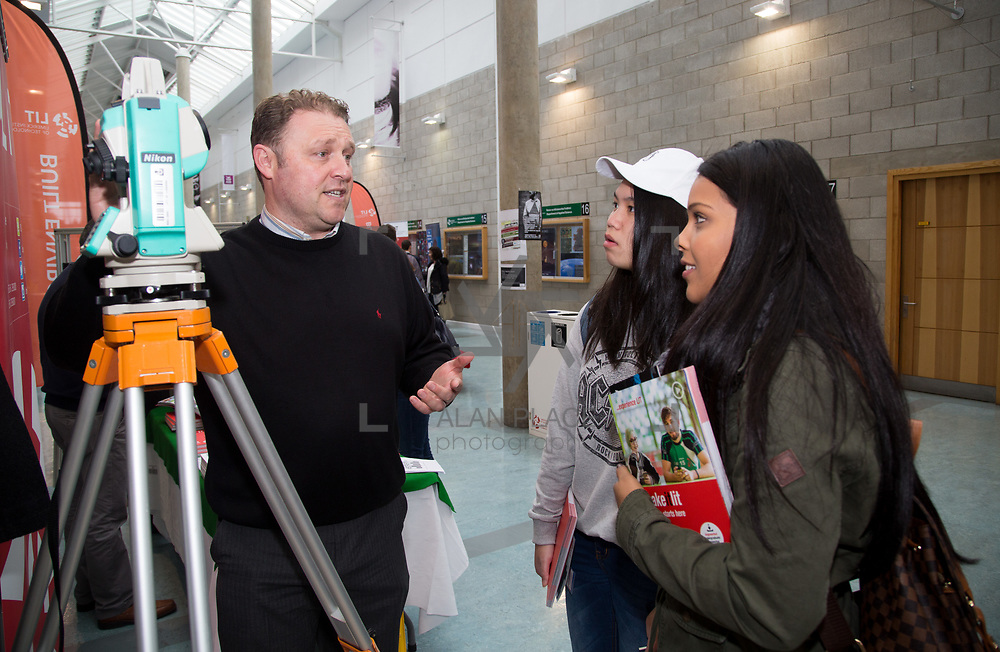 20.10.17.            <br /> Enjoying the LIT (Limerick School of Technology) open day were, Chloe Yap and Jaciara Gomes of St. Marys Charleville with LIT's Brian Wallace, Built Environment. Picture: Alan Place