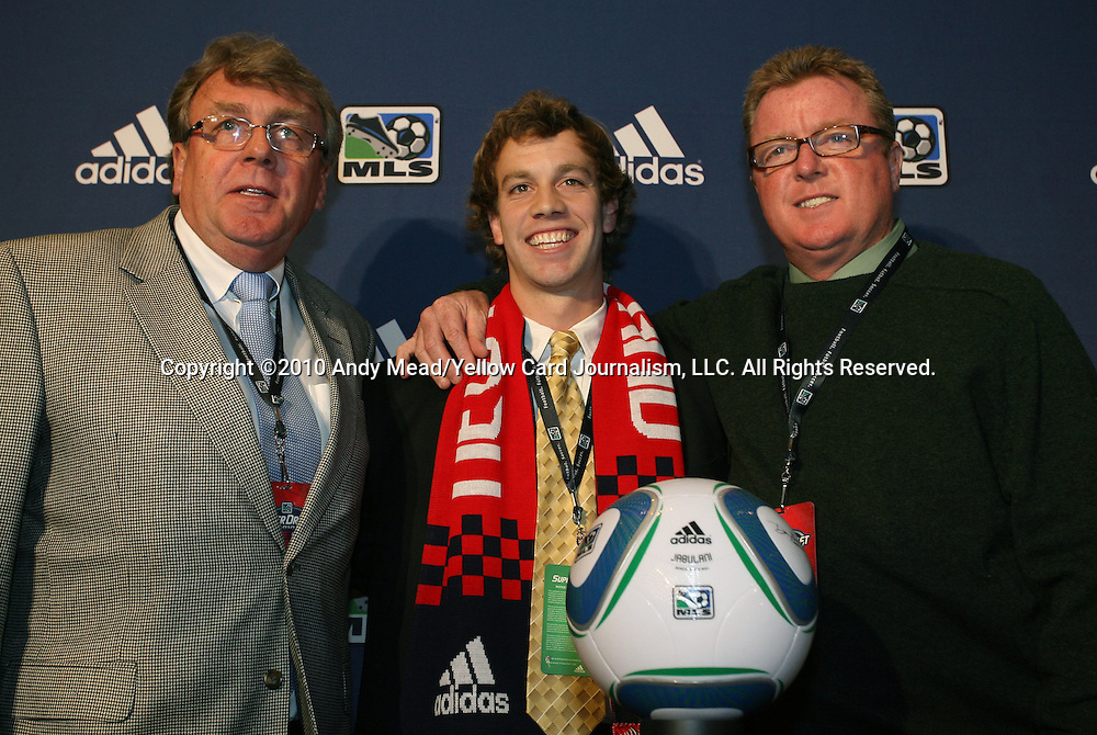 14 January 2010: Zack Schilawski was selected with the #9 overall pick by the New England Revolution. From left: Gwynne Williams, Zack Schilawski, Steve Nicol. The 2010 MLS SuperDraft was held in the Ballroom at Pennsylvania Convention Center in Philadelphia, PA during the NSCAA Annual Convention.