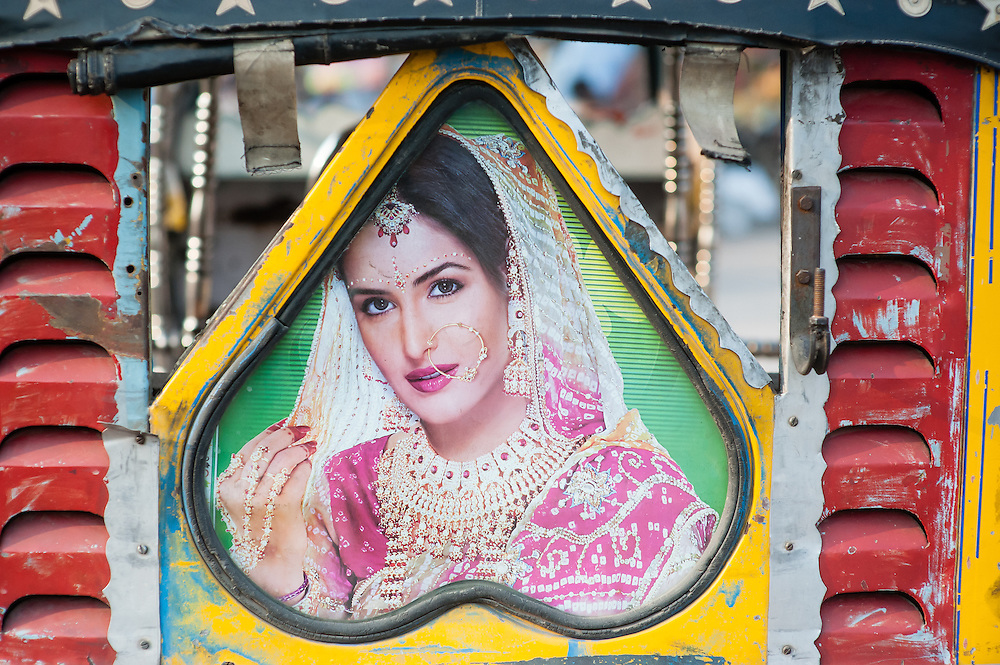 Bollywood actress picture at the back of autorickshaw (India)
