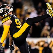 Pittsburgh Steelers outside linebacker T.J. Watt (90) celebrates a sack during an NFL regular season football game against the New England Patriots on Sunday, Dec. 16, 2018 in Pittsburgh. The Steelers won, 17-10. (Ric Tapia via AP)