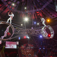 Artists of the Gerling Troupe of Colombia perform in the new show titled Balance in Circus Budapest in Budapest, Hungary on October 04, 2015. ATTILA VOLGYI