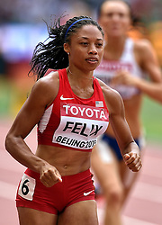 24-08-2015 CHN: IAAF World Championships Athletics day 3, Beijing<br /> Allyson Felix USA win the first heat on the 400 m<br /> Photo by Ronald Hoogendoorn / Sportida