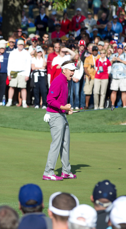 Ian POULTER (ENG)  makes birdie on 13th during morning Foursomes,Ryder Cup Matches,Medinah CC,<br /> Medinah,Illinois,USA.