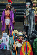 Pontious Pilot arrives to try Jesus for teh priests - The Wintershall Players open-air re-enactment of 'The Passion of Jesus' on Good Friday in the rain in Trafalgar Square. It featured a cast of over 100 volunteers from in and around London.