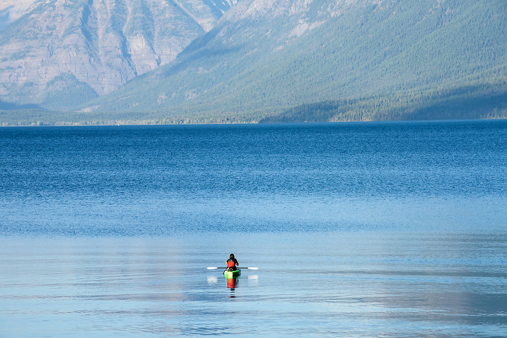Lake McDonald kayaker, Apgar Village, Glacier National Park, Montana