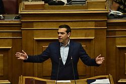 June 16, 2018 - Athens, Attiki, Greece - Greek Prime Minister Alexis Tsipras, during his speech in Hellenic Parliament (Credit Image: © Dimitrios Karvountzis/Pacific Press via ZUMA Wire)
