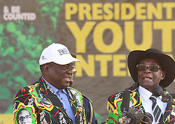 GWERU (ZIMBABWE), Sept. 1, 2017  Zimbabwean President Robert Mugabe (R) and Vice President Emmerson Mnangagwa attend a youth interface rally in Gweru, Zimbabwe, Sept. 1, 2017. Zimbabwean President Robert Mugabe said on Friday his deputy Emmerson Mnangagwa is now fit and strong after battling illness a few weeks ago. Mugabe made the remark while addressing the seventh youth interface rally in Gweru, Midlands Province. (Credit Image: © Stringer/Xinhua via ZUMA Wire)