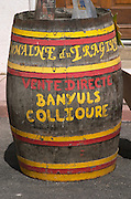 Barrel outside wine shop: Domaine du Tragine. Banyuls sur Mer, Roussillon, France