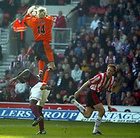 Southampton's Antti Niemi over Aston Villa's Darius Vassell to catch the high ball