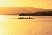 Outrigger canoe, Sunset, Molokai, Hawaii, USA<br />