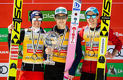 Second placed Stefan Kraft (AUT), winner Ryoyu Kobayashi (JPN) and third placed Kamil Stoch (POL) in Overall classification celebrate at trophy ceremony after the Ski Flying Hill Individual Competition at Day 4 of FIS Ski Jumping World Cup Final 2019, on March 24, 2019 in Planica, Slovenia. Photo by Vid Ponikvar / Sportida