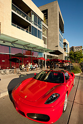 North America, United States, Washington, Bellevue, sports car and restaurant