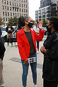 NEW YORK, NEW YORK: OCTOBER 24, 2020- New York City Mayoral Candidate Miya Wiley attends Day 1 of Early Voting as it opens in New York City with anticipated large crowds waiting in lines for sometimes two or more hours to cast their votes at the Brooklyn Museum on October 24, 2020 in Brooklyn, New York.  (Photo by Terrence Jennings/terrencejennings.com)