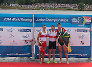 Hamburg. GERMANY. Men's Single Sculls left silver medalistCAN JM1X, Daniel DE GROOT, centre Gold medalist. GER JM1X. Tim Ole NASKE.Right RSA JM1X. Daiel WATKINS. Sunday A Finals. at the 2014 FISA Junior World rowing. Championships.  15:32:36  Sunday  10/08/2014  [Mandatory Credit; Peter Spurrier/Intersport-images]