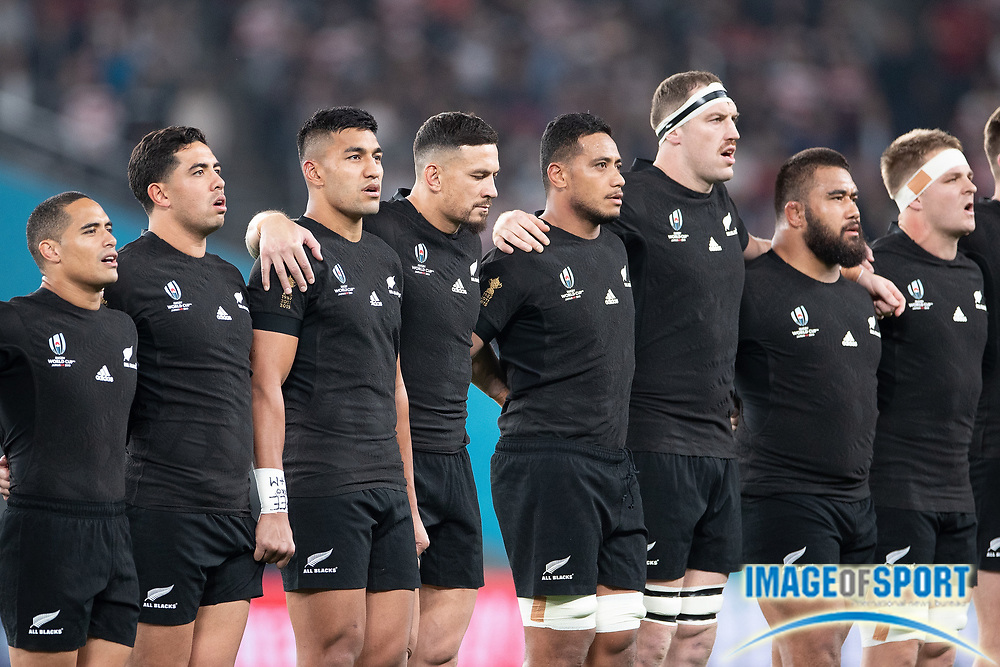 New Zealand´s anthem before the Rugby World Cup bronze final match between New Zealand and Wales Friday, Nov, 1, 2019, in Tokyo. New Zealand defeated Wales 40-17.  (Flor Tan Jun/Espa-Images-Image of Sport)