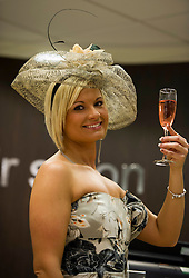 Dorota Drozdz admires her horse head nails from Allure Medi Spain Debenhams at Ocean Terminal to get ready for Ladies Day at Musselburgh Race Course. 11 June 2012 (Ger Harley | StockPix).