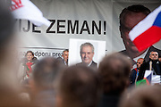 Czech President Milos Zeman speaking during an anti-Islam rally in Prague. Czech Republic celebrates that day the 26th anniversary of the Velvet Revolution which took place in 1989.