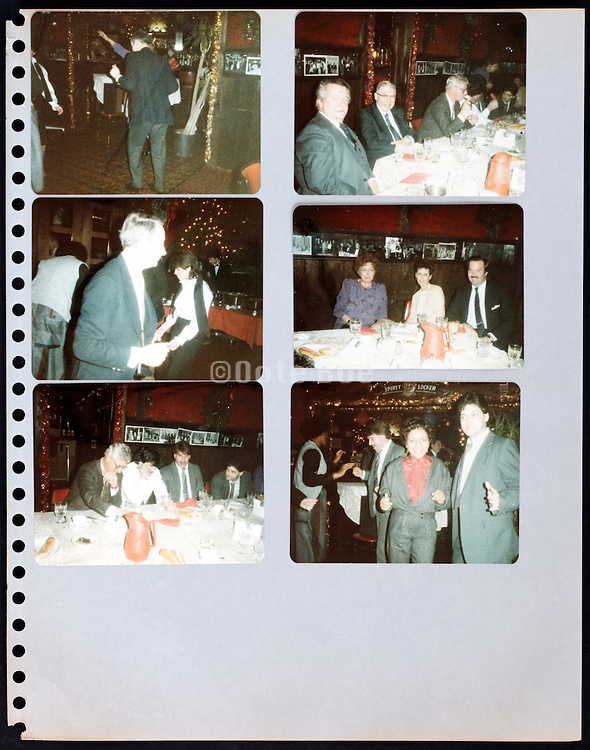 page from a photo album with company office workers having a party USA 1980