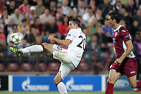 Ionut Rada (R) of CFR Cluj challenges Robin van Persie (L) of Manchester United during the UEFA Champions League, Group H, soccer match at Dr. Constantin Radulescu Stadium in Cluj-Napoca, Romania, 2 October 2012.